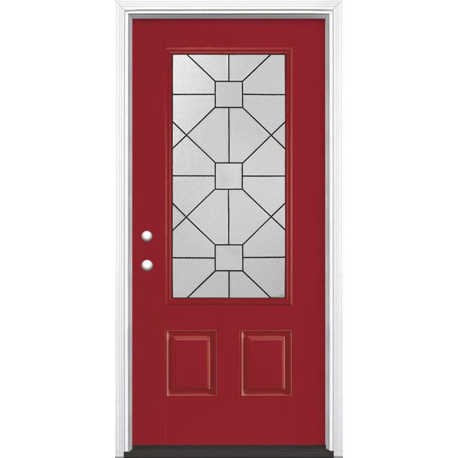 Masonite Hancock 2-Panel Insulating Core 3/4 Lite Right-Hand Inswing Roma Red Fiberglass Painted Prehung Entry Door (Common: 36-in x 80-in; Actual: 37.5-in x 81.5-in)