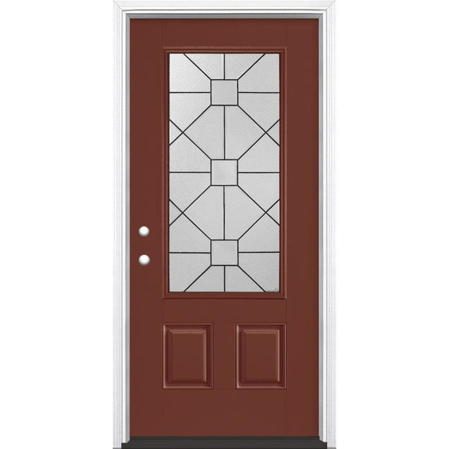 Masonite Hancock 2-Panel Insulating Core 3/4 Lite Right-Hand Inswing Fox Tail Fiberglass Painted Prehung Entry Door (Common: 36-in x 80-in; Actual: 37.5-in x 81.5-in)