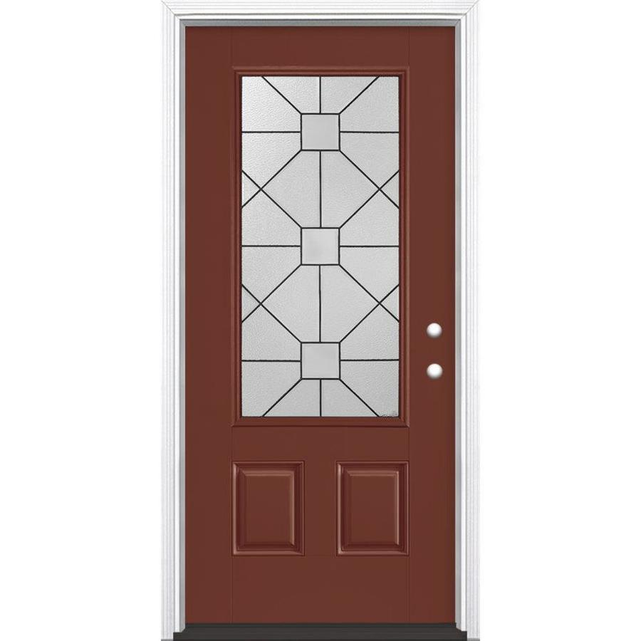 Masonite Hancock Decorative Glass Left-Hand Inswing Fox Tail Painted Fiberglass Prehung Entry Door with Insulating Core (Common: 36-in x 80-in; Actual: 37.5-in x 81.625-in)