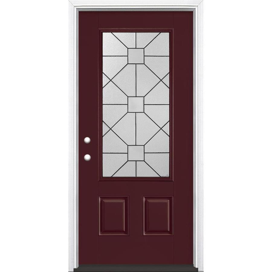 Masonite Hancock 2-panel Insulating Core 3/4 Lite Right-Hand Inswing Currant Fiberglass Painted Prehung Entry Door (Common: 36-in x 80-in; Actual: 37.5-in x 81.5-in)