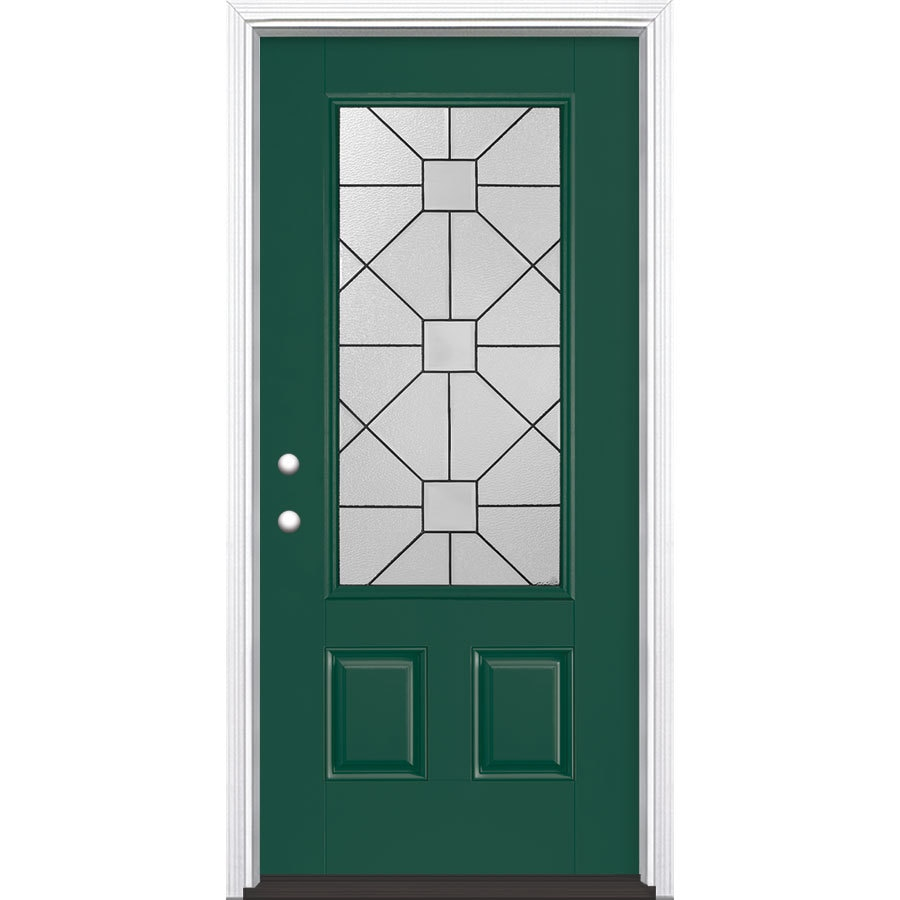 Shop masonite hancock decorative glass right hand inswing for Exterior door insulation