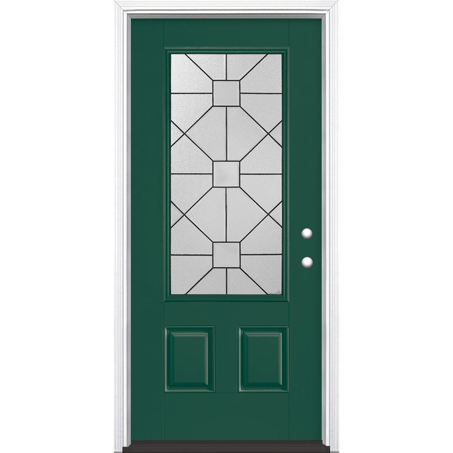 Masonite Hancock Decorative Glass Left-Hand Inswing Evergreen Painted Fiberglass Prehung Entry Door with Insulating Core (Common: 36-in x 80-in; Actual: 37.5-in x 81.625-in)