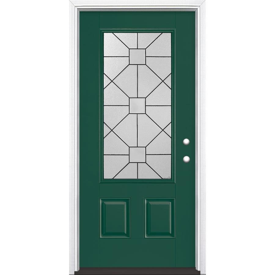 Masonite Hancock 2-Panel Insulating Core 3/4 Lite Left-Hand Inswing Evergreen Fiberglass Painted Prehung Entry Door (Common: 36-in x 80-in; Actual: 37.5-in x 81.5-in)