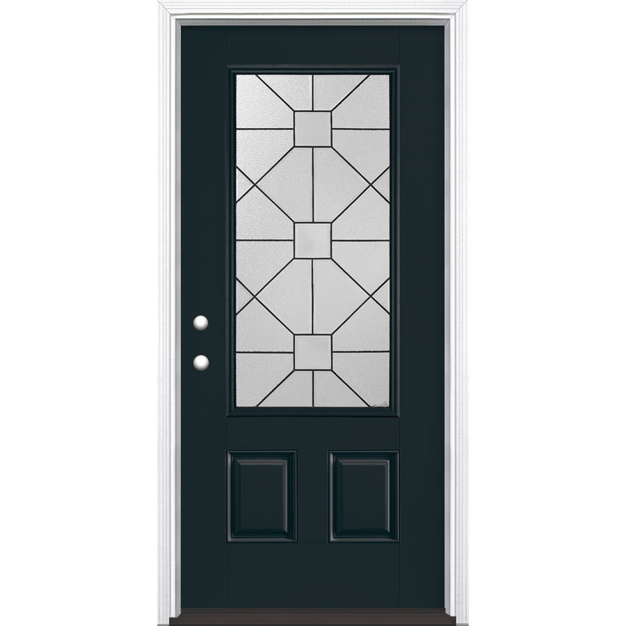 Masonite Hancock Decorative Glass Right-Hand Inswing Eclipse Fiberglass Painted Entry Door (Common: 36-in x 80-in; Actual: 37.5-in x 81.5-in)