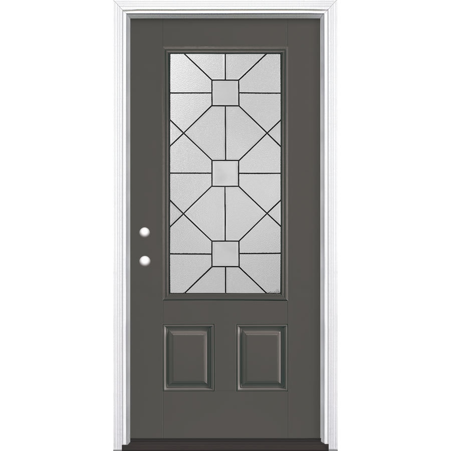 Masonite Hancock 2-Panel Insulating Core 3/4 Lite Right-Hand Inswing Timber Gray Fiberglass Painted Prehung Entry Door (Common: 36-in x 80-in; Actual: 37.5-in x 81.5-in)