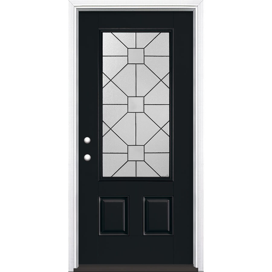 Masonite Hancock 2-Panel Insulating Core 3/4 Lite Right-Hand Inswing Peppercorn Fiberglass Painted Prehung Entry Door (Common: 36-in x 80-in; Actual: 37.5-in x 81.5-in)