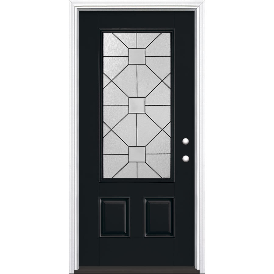 Masonite Hancock Decorative Glass Left-Hand Inswing Peppercorn Painted Fiberglass Prehung Entry Door with Insulating Core (Common: 36-in x 80-in; Actual: 37.5-in x 81.625-in)