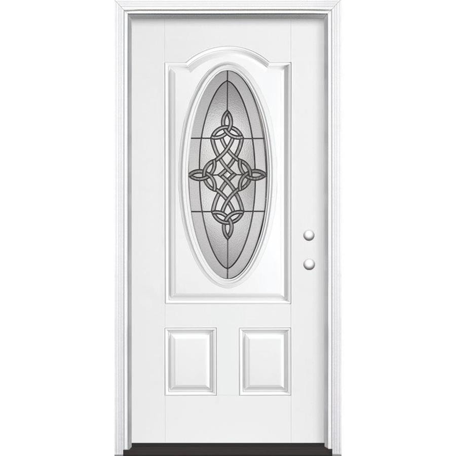 Masonite Dylan 2-Panel Insulating Core Oval Lite Left-Hand Inswing Artic White Fiberglass Painted Prehung Entry Door (Common: 36-in x 80-in; Actual: 37.5-in x 81.5-in)
