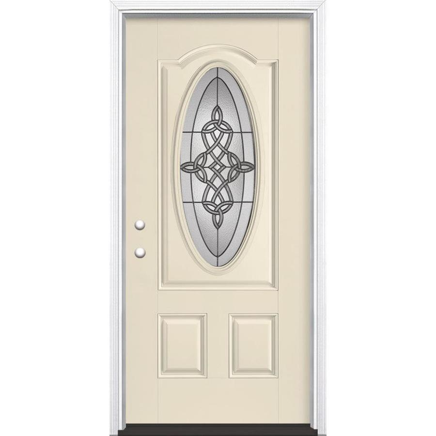 Masonite Dylan Right-Hand Inswing Bisque Painted Fiberglass Entry Door with Insulating Core (Common: 36-in x 80-in; Actual: 37.5-in x 81.5-in)