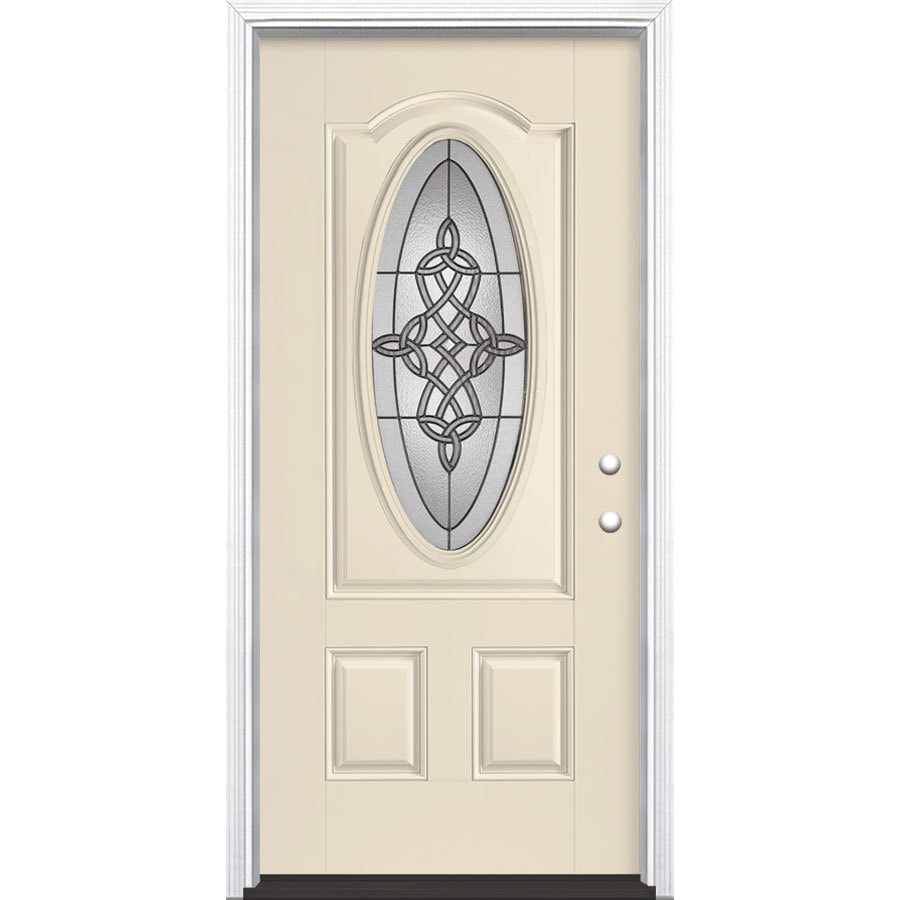 Masonite Dylan Decorative Glass Left-Hand Inswing Bisque Painted Fiberglass Prehung Entry Door with Insulating Core (Common: 36-in x 80-in; Actual: 37.5-in x 81.625-in)