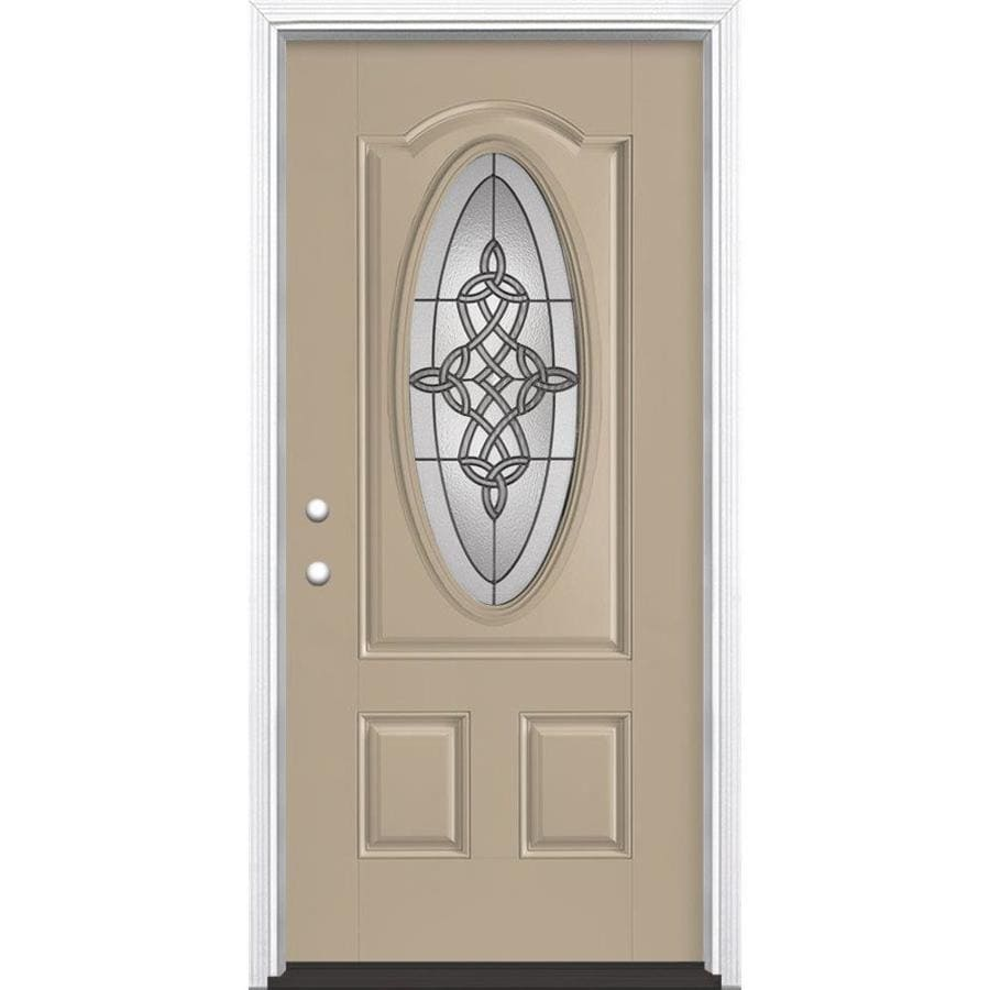 Masonite Dylan 2-Panel Insulating Core Oval Lite Right-Hand Inswing Sandy Shore Fiberglass Painted Prehung Entry Door (Common: 36-in x 80-in; Actual: 37.5-in x 81.5-in)