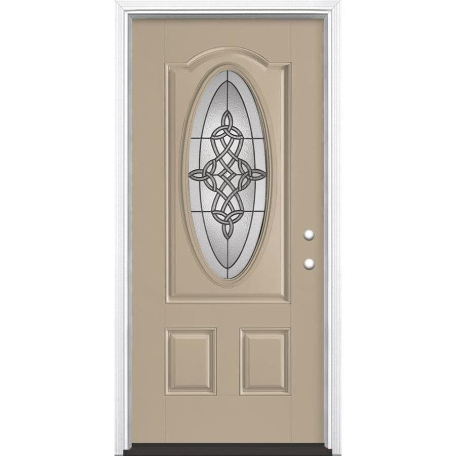 Masonite Dylan 2-Panel Insulating Core Oval Lite Left-Hand Inswing Sandy Shore Fiberglass Painted Prehung Entry Door (Common: 36-in x 80-in; Actual: 37.5-in x 81.5-in)