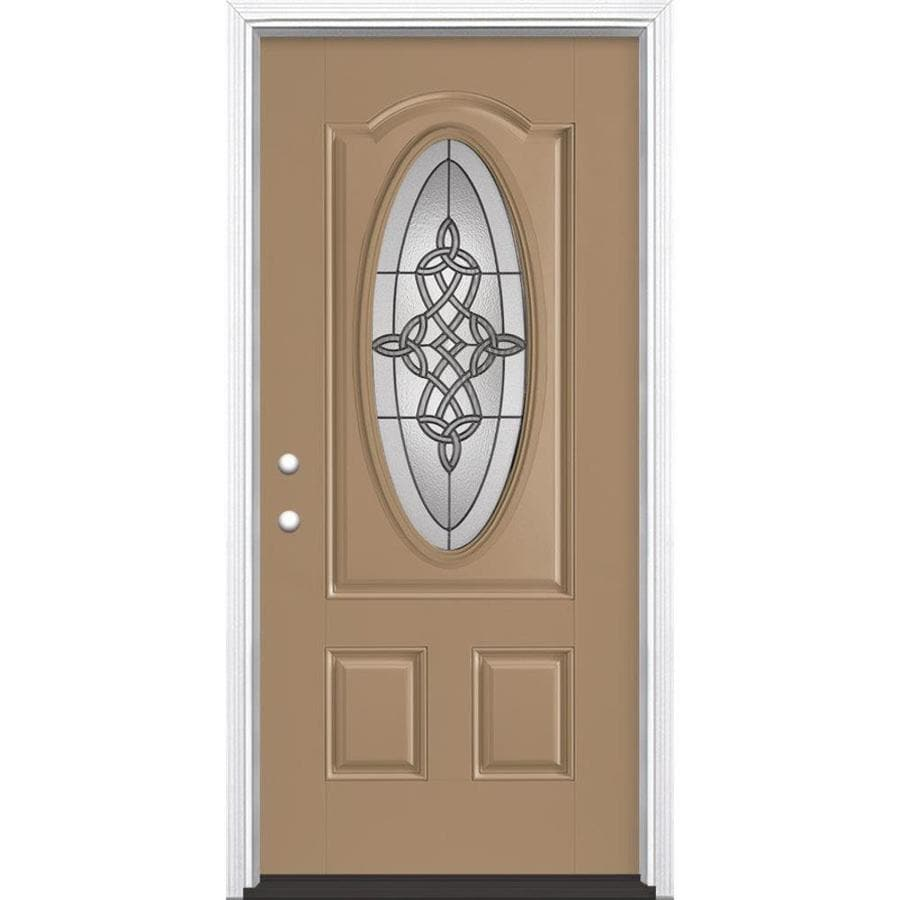 Masonite Dylan Decorative Glass Right-Hand Inswing Warm Wheat Fiberglass Painted Entry Door (Common: 36-in x 80-in; Actual: 37.5-in x 81.5-in)