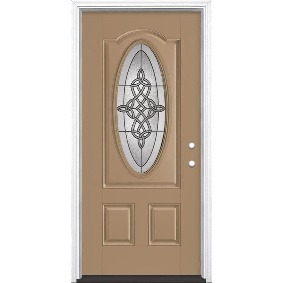Masonite Dylan 2-Panel Insulating Core Oval Lite Left-Hand Inswing Warm Wheat Fiberglass Painted Prehung Entry Door (Common: 36-in x 80-in; Actual: 37.5-in x 81.5-in)