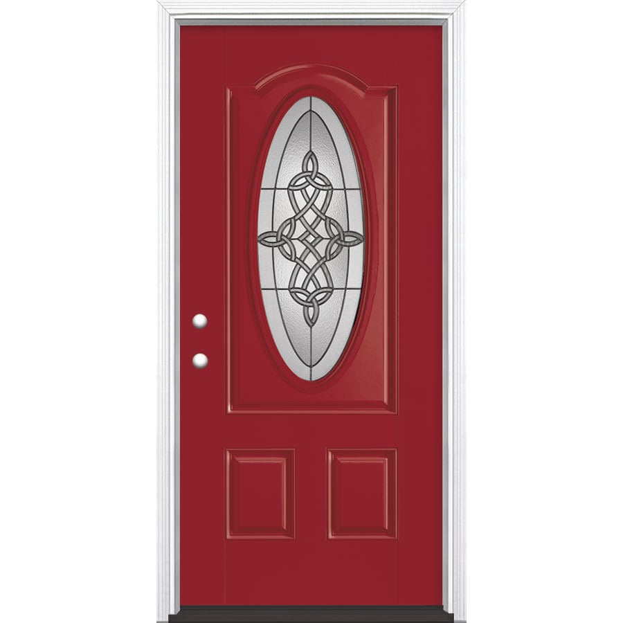 Masonite Dylan Decorative Glass Right-Hand Inswing Roma Red Painted Fiberglass Prehung Entry Door with Insulating Core (Common: 36-in x 80-in; Actual: 37.5-in x 81.625-in)