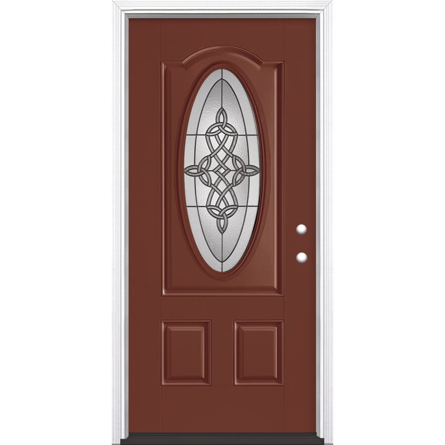 Shop masonite dylan decorative glass left hand inswing fox for Decorative glass for entry doors
