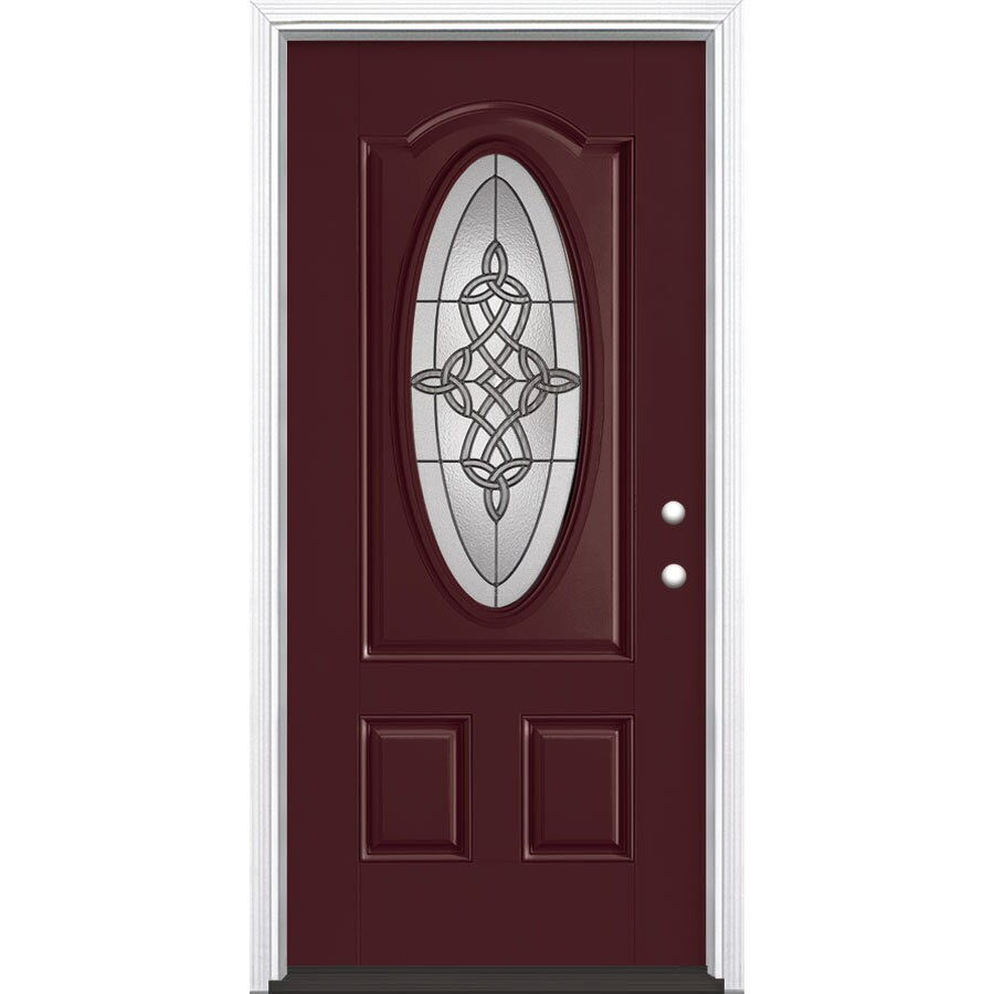 Masonite Dylan 2-Panel Insulating Core Oval Lite Left-Hand Inswing Currant Fiberglass Painted Prehung Entry Door (Common: 36-in x 80-in; Actual: 37.5-in x 81.5-in)