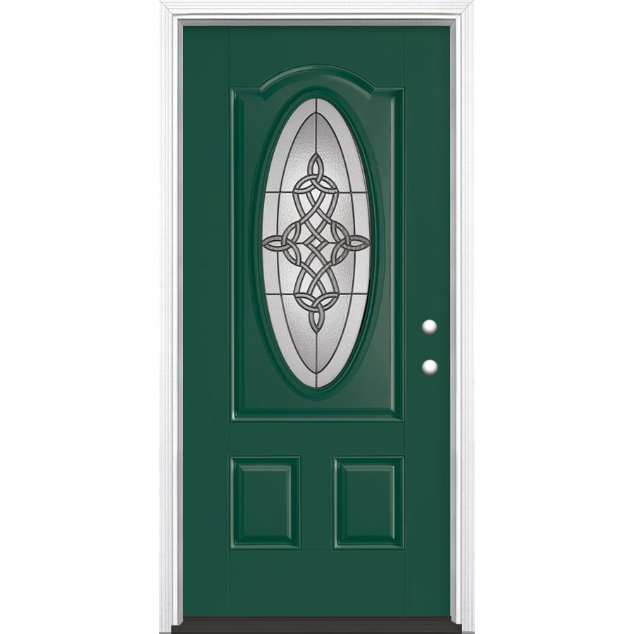 Shop masonite dylan decorative glass left hand inswing evergreen painted fiberglass prehung for Lowes fiberglass exterior doors