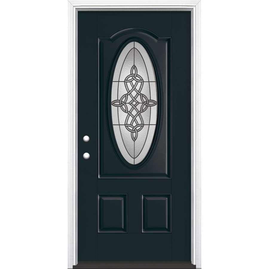 Masonite Dylan Decorative Glass Right-Hand Inswing Eclipse Fiberglass Painted Entry Door (Common: 36-in x 80-in; Actual: 37.5-in x 81.5-in)
