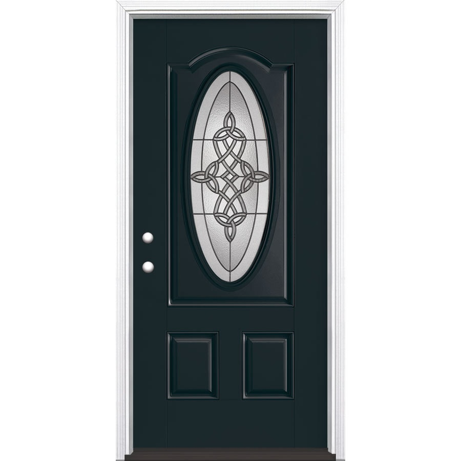 Masonite Dylan 2-Panel Insulating Core Oval Lite Right-Hand Inswing Eclipse Fiberglass Painted Prehung Entry Door (Common: 36-in x 80-in; Actual: 37.5-in x 81.5-in)