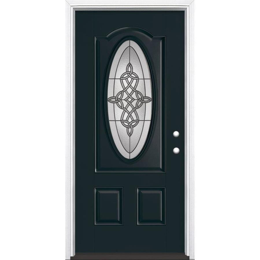Masonite Dylan 2-Panel Insulating Core Oval Lite Left-Hand Inswing Eclipse Fiberglass Painted Prehung Entry Door (Common: 36-in x 80-in; Actual: 37.5-in x 81.5-in)