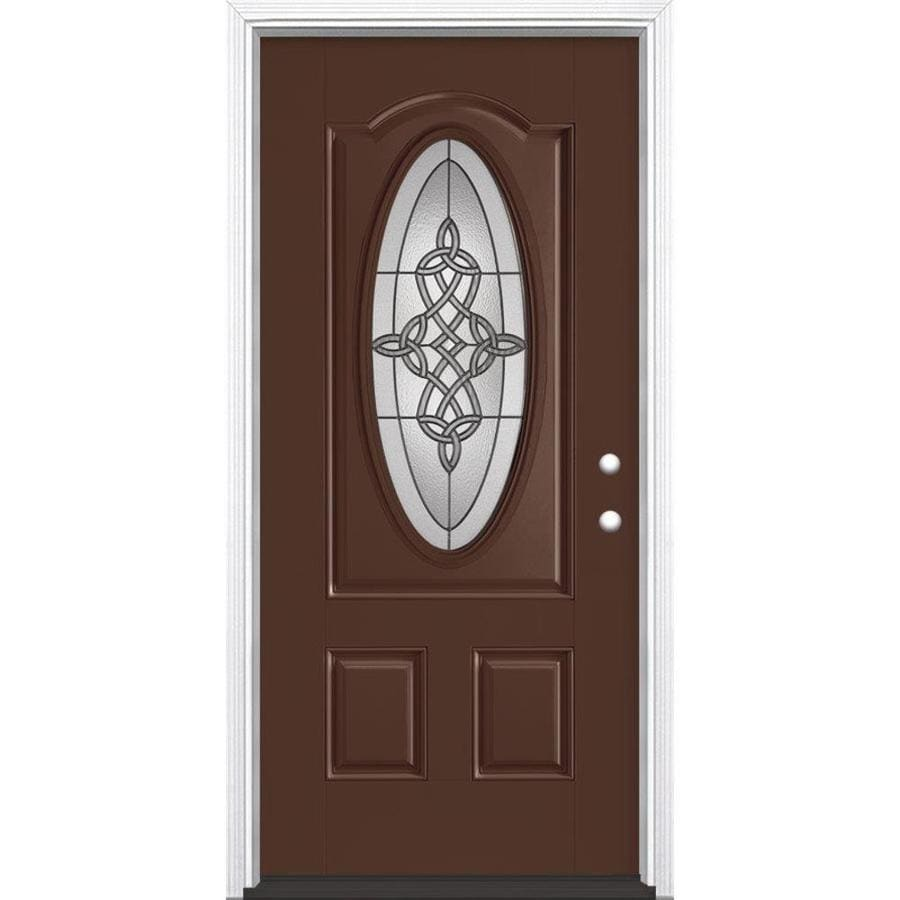 Masonite Dylan 2-panel Insulating Core Oval Lite Left-Hand Inswing Chocolate Fiberglass Painted Prehung Entry Door (Common: 36-in x 80-in; Actual: 37.5-in x 81.5-in)