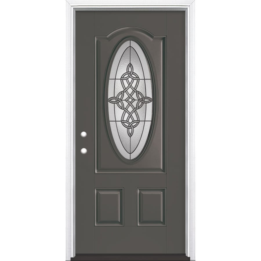Masonite Dylan 2-Panel Insulating Core Oval Lite Right-Hand Inswing Timber Gray Fiberglass Painted Prehung Entry Door (Common: 36-in x 80-in; Actual: 37.5-in x 81.5-in)