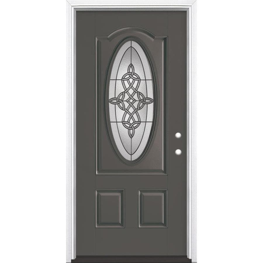Masonite Dylan 2-Panel Insulating Core Oval Lite Left-Hand Inswing Timber Gray Fiberglass Painted Prehung Entry Door (Common: 36-in x 80-in; Actual: 37.5-in x 81.5-in)