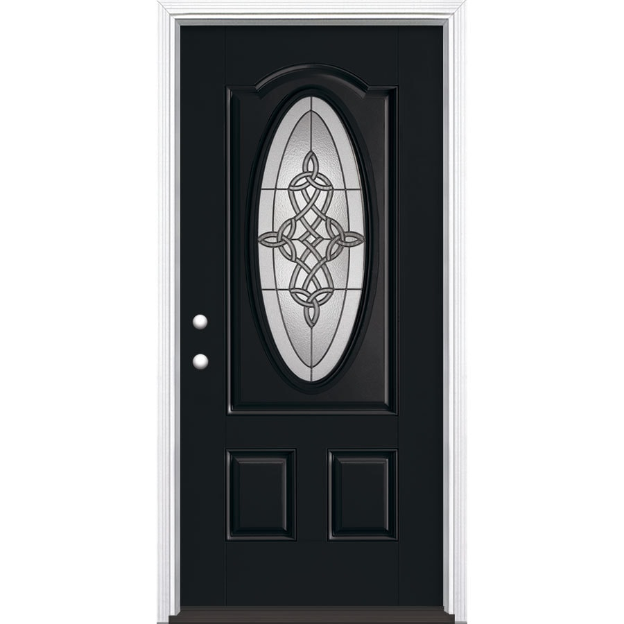 Masonite Dylan 2-Panel Insulating Core Oval Lite Right-Hand Inswing Peppercorn Fiberglass Painted Prehung Entry Door (Common: 36-in x 80-in; Actual: 37.5-in x 81.5-in)