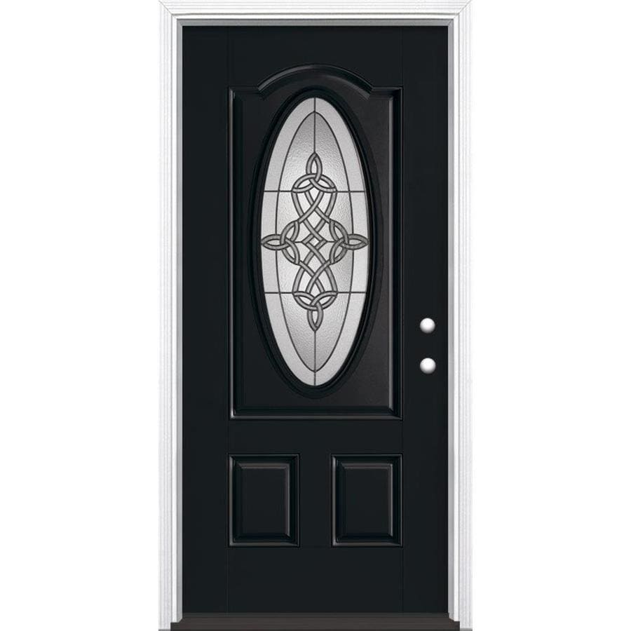 Masonite Dylan Decorative Glass Left-Hand Inswing Peppercorn Fiberglass Painted Entry Door (Common: 36-in x 80-in; Actual: 37.5-in x 81.5-in)