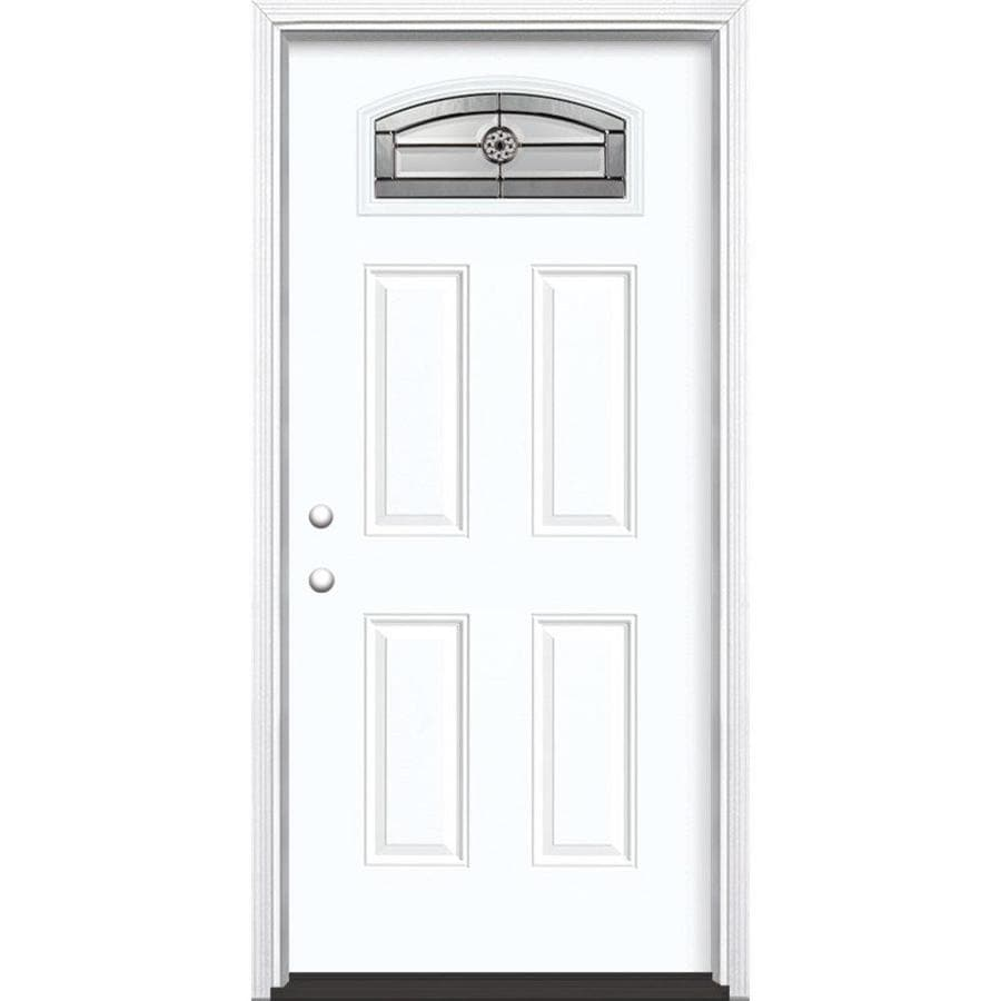 Masonite Decorative Glass Right-Hand Inswing Arctic White Painted Fiberglass Prehung Entry Door with Insulating Core (Common: 36-in x 80-in; Actual: 37.5-in x 81.625-in)