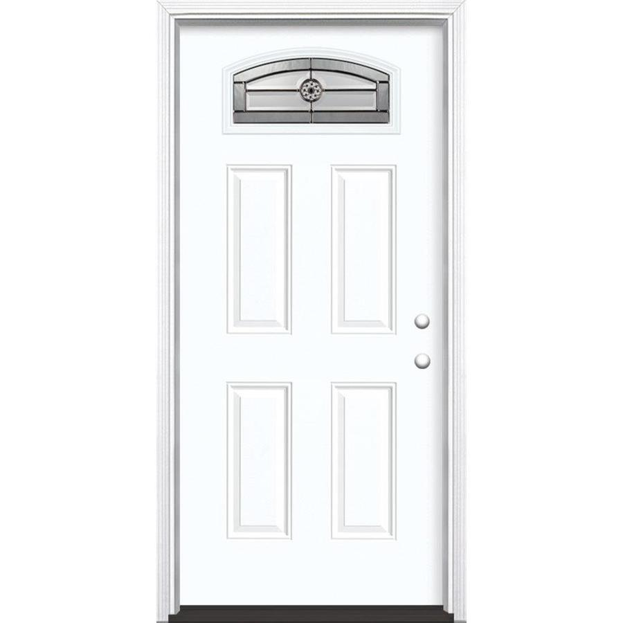 Masonite Decorative Glass Left-Hand Inswing Arctic White Painted Fiberglass Prehung Entry Door with Insulating Core (Common: 36-in x 80-in; Actual: 37.5-in x 81.625-in)