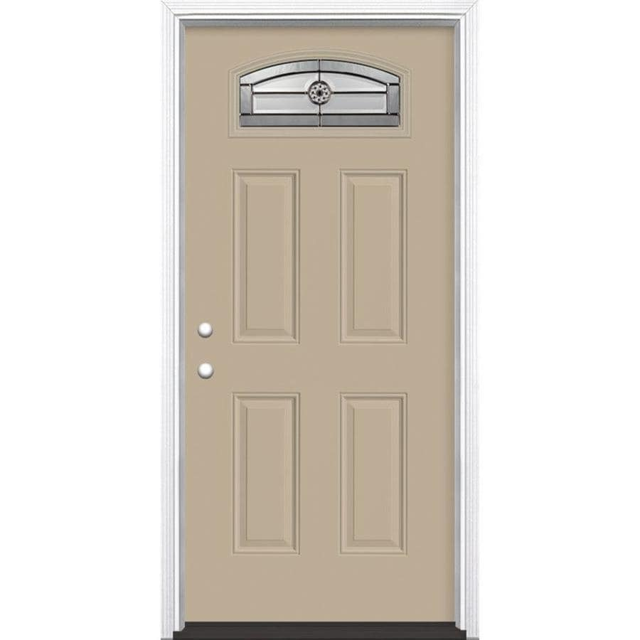 Masonite Elan 4-Panel Insulating Core Morelight Right-Hand Inswing Sandy Shore Fiberglass Painted Prehung Entry Door (Common: 36-in x 80-in; Actual: 37.5-in x 81.5-in)