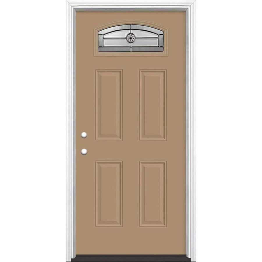 Masonite Elan 4-Panel Insulating Core Morelight Right-Hand Inswing Warm Wheat Fiberglass Painted Prehung Entry Door (Common: 36-in x 80-in; Actual: 37.5-in x 81.5-in)