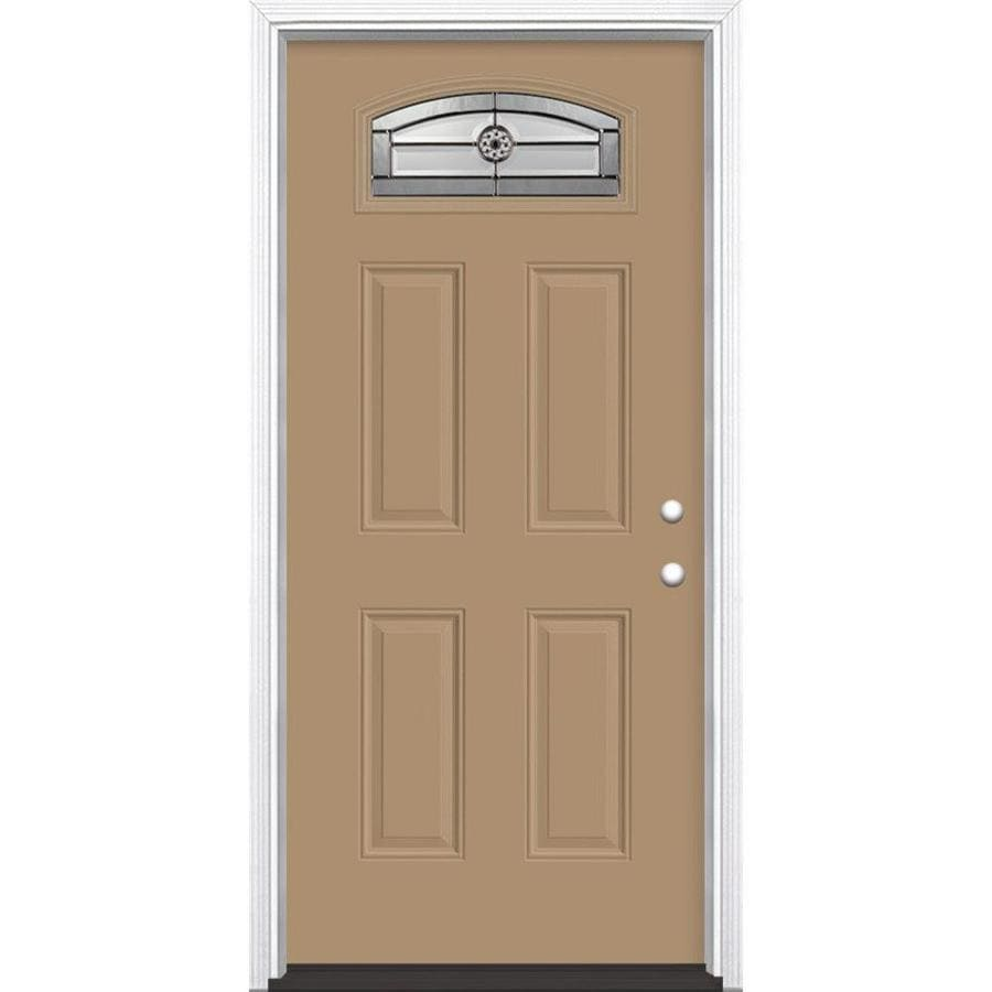 Masonite Elan 4-Panel Insulating Core Morelight Left-Hand Inswing Warm Wheat Fiberglass Painted Prehung Entry Door (Common: 36-in x 80-in; Actual: 37.5-in x 81.5-in)