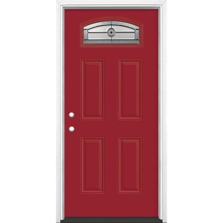 Masonite Elan 4-Panel Insulating Core Morelight Right-Hand Inswing Roma Red Fiberglass Painted Prehung Entry Door (Common: 36-in x 80-in; Actual: 37.5-in x 81.5-in)