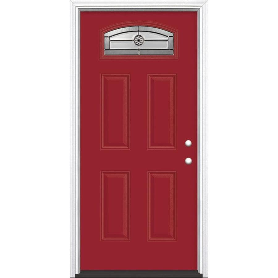 Masonite Decorative Glass Left-Hand Inswing Roma Red Fiberglass Painted Entry Door (Common: 36-in x 80-in; Actual: 37.5-in x 81.5-in)
