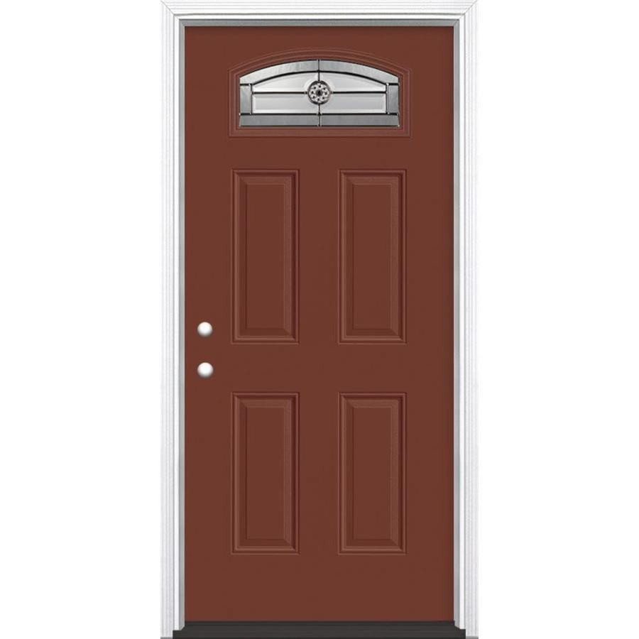 Shop masonite decorative glass right hand inswing fox tail painted fiberglass prehung entry door for Lowes fiberglass exterior doors