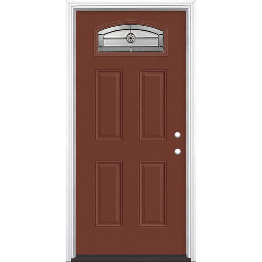 Masonite Decorative Glass Left-Hand Inswing Fox Tail Fiberglass Painted Entry Door (Common: 36-in x 80-in; Actual: 37.5-in x 81.5-in)