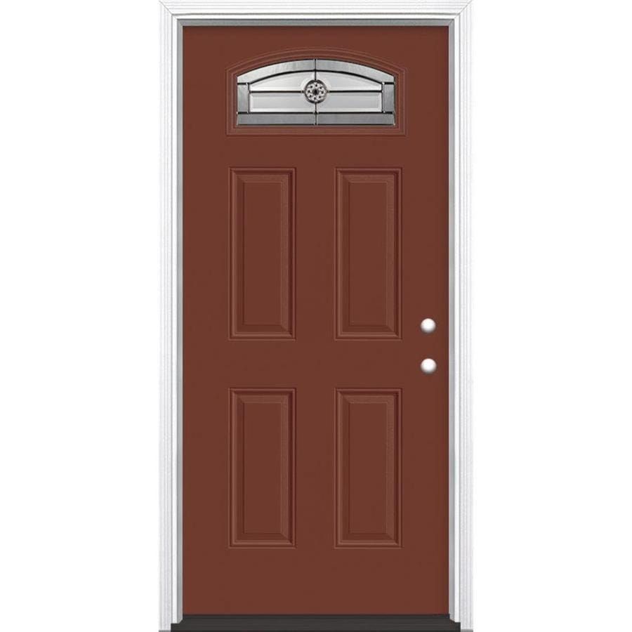 Masonite Elan 4-Panel Insulating Core Morelight Left-Hand Inswing Fox Tail Fiberglass Painted Prehung Entry Door (Common: 36-in x 80-in; Actual: 37.5-in x 81.5-in)