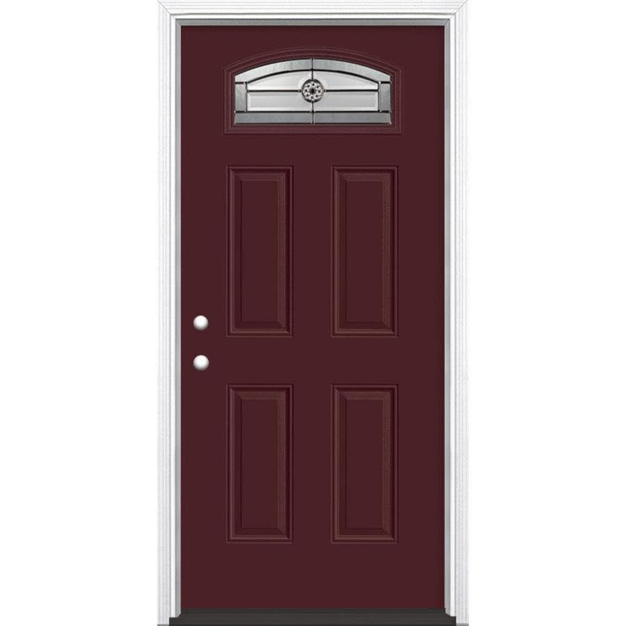 Masonite Decorative Glass Right-Hand Inswing Currant Painted Fiberglass Prehung Entry Door with Insulating Core (Common: 36-in x 80-in; Actual: 37.5-in x 81.625-in)