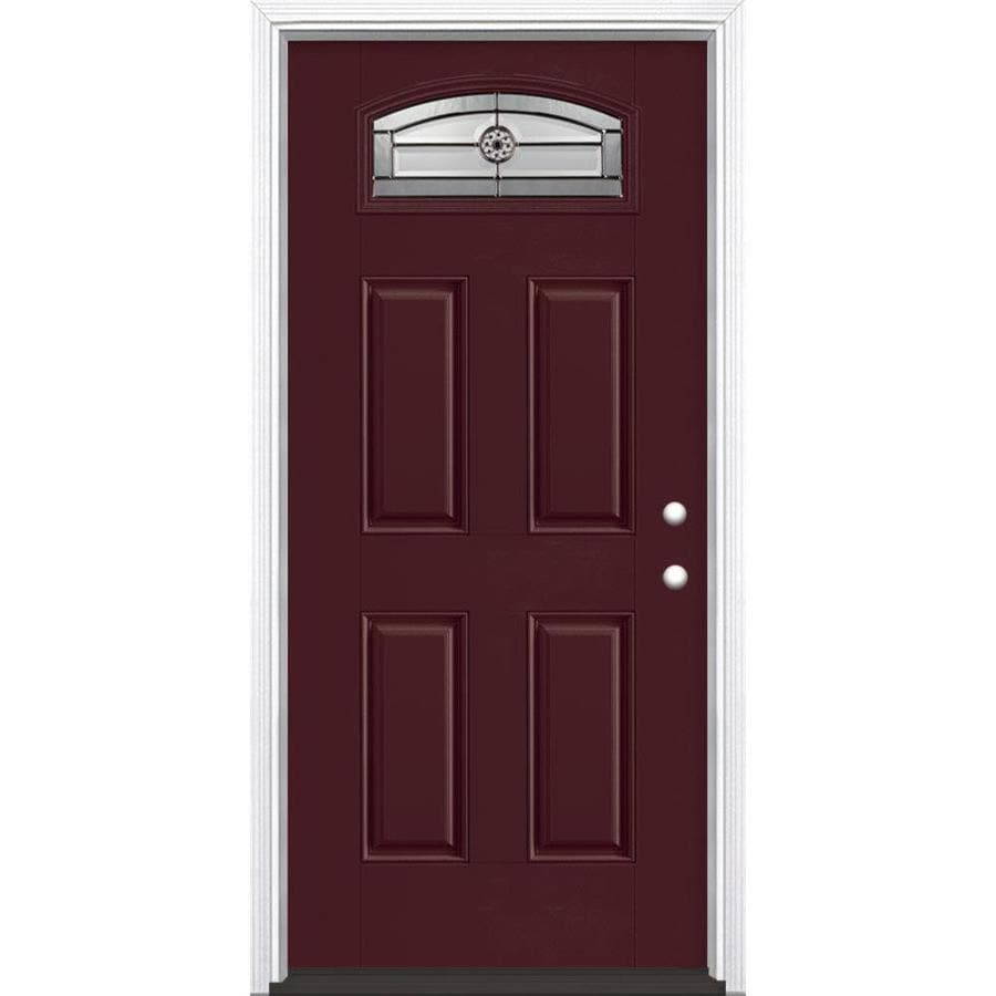 Shop masonite decorative glass left hand inswing currant for Decorative glass for entry doors
