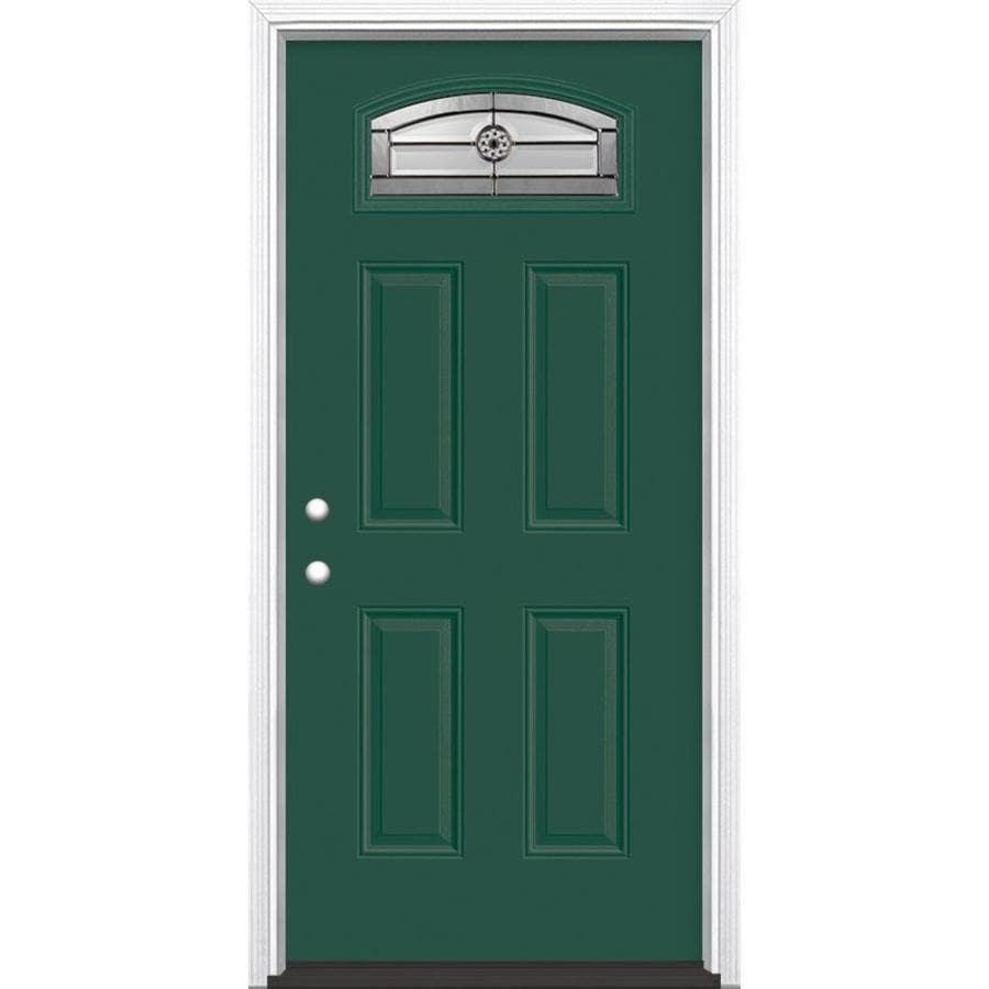 Masonite Decorative Glass Right-Hand Inswing Evergreen Painted Fiberglass Prehung Entry Door with Insulating Core (Common: 36-in x 80-in; Actual: 37.5-in x 81.625-in)