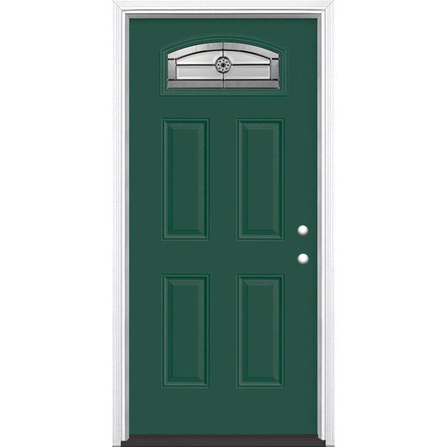 Shop masonite decorative glass left hand inswing evergreen for Fiberglass entry doors