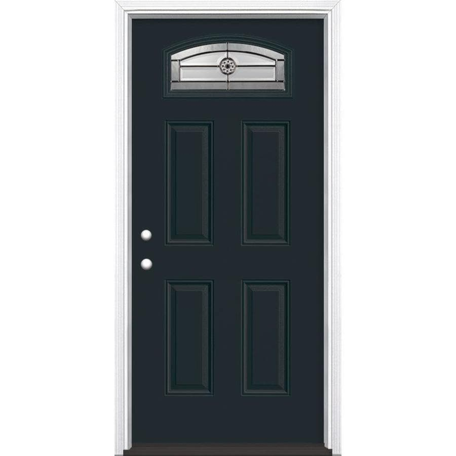 Masonite Decorative Glass Right-Hand Inswing Eclipse Painted Fiberglass Prehung Entry Door with Insulating Core (Common: 36-in X 80-in; Actual: 37.5-in x 81.625-in)