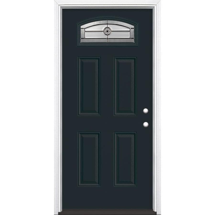 Masonite Decorative Glass Left-Hand Inswing Eclipse Fiberglass Painted Entry Door (Common: 36-in x 80-in; Actual: 37.5-in x 81.5-in)