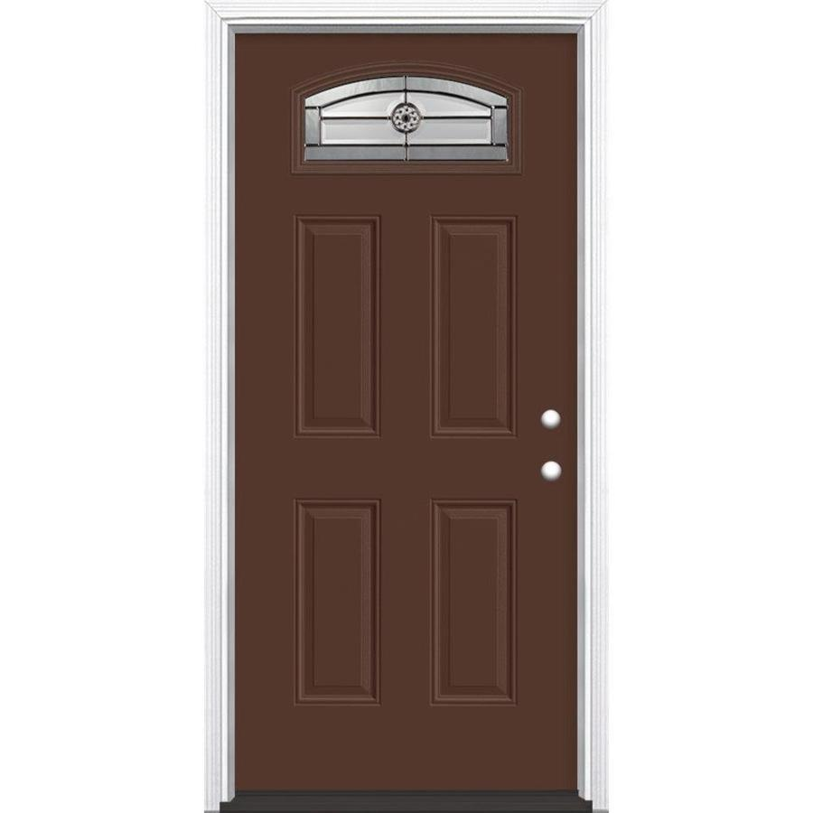 Masonite 4-panel Insulating Core Morelight Left-Hand Inswing Chocolate Fiberglass Painted Prehung Entry Door (Common: 36-in x 80-in; Actual: 37.5-in x 81.5-in)