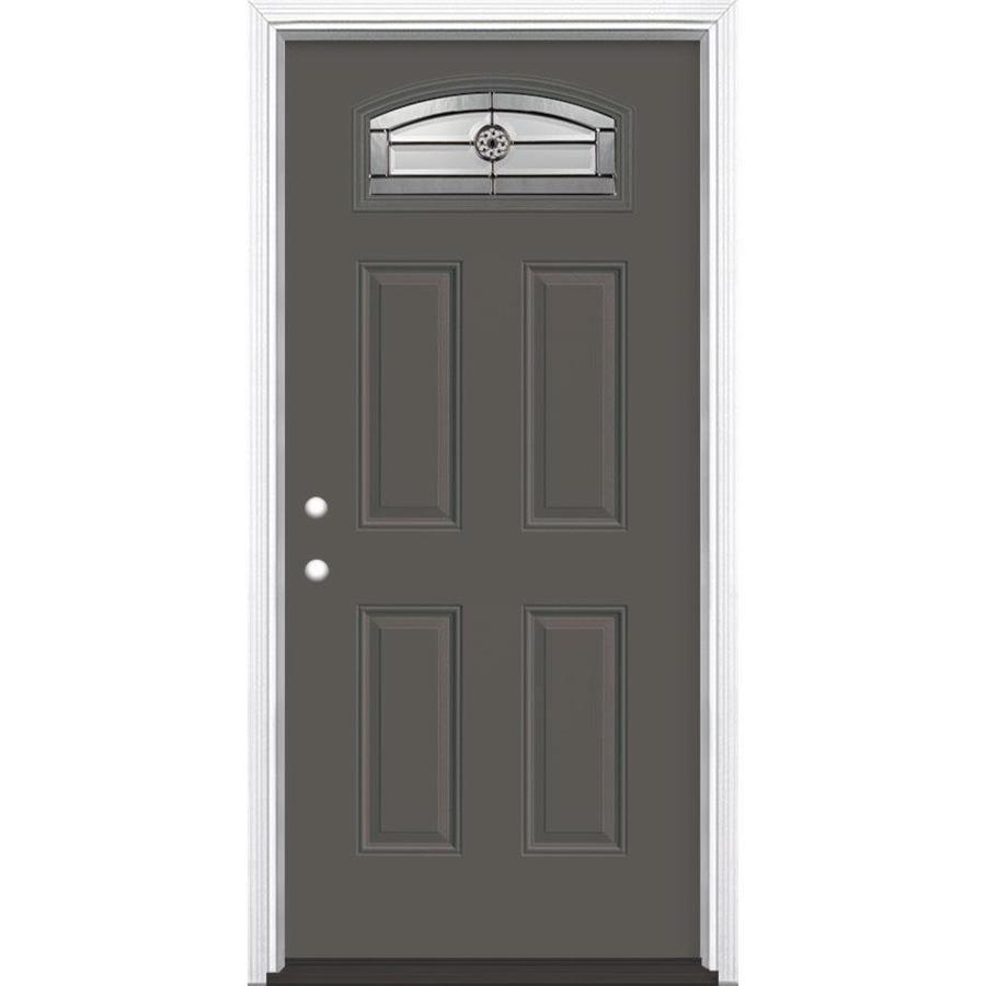 Masonite Decorative Glass Right Hand Inswing Timber Gray Painted Fiberglass  Prehung Entry Door With Insulating