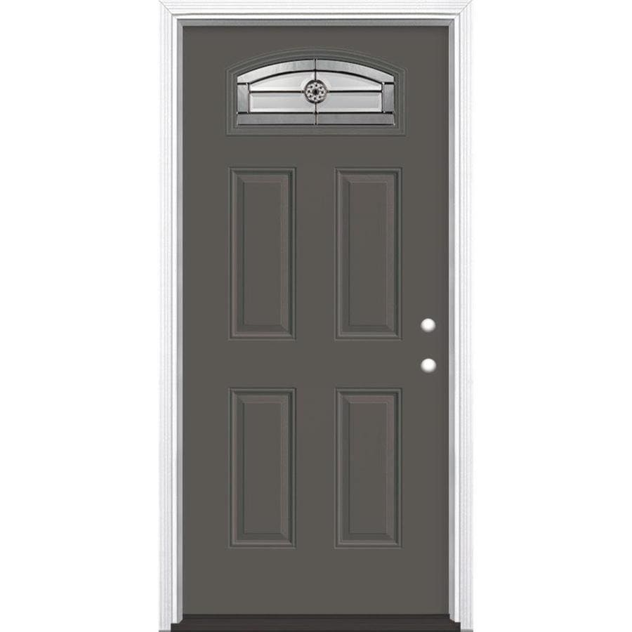Masonite Elan 4-Panel Insulating Core Morelight Left-Hand Inswing Timber Gray Fiberglass Painted Prehung Entry Door (Common: 36-in x 80-in; Actual: 37.5-in x 81.5-in)