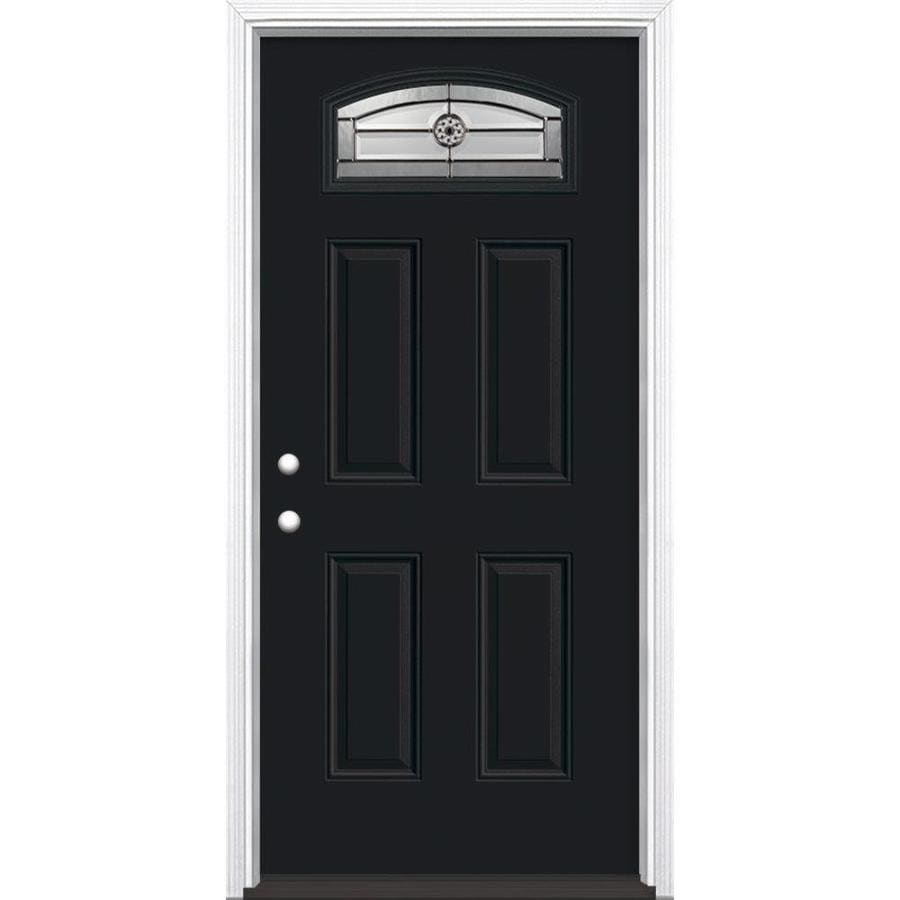 Masonite Decorative Glass Right-Hand Inswing Peppercorn Painted Fiberglass Prehung Entry Door with Insulating Core (Common: 36-in x 80-in; Actual: 37.5-in x 81.625-in)